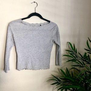 Grey 3-Quarter Length Crop Top